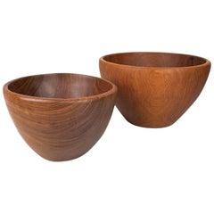 Mid-Century Modern Set of Danish Design Sculptural Hand-Turned Teak Bowl