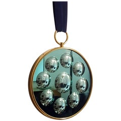 Piero Fornasetti Wall Round Optical Mirror in brass with velvet band, italy