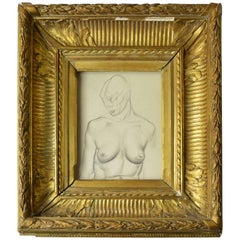 Drawing of a Female Nude Torso by Peter William Ibbetson, circa 1930