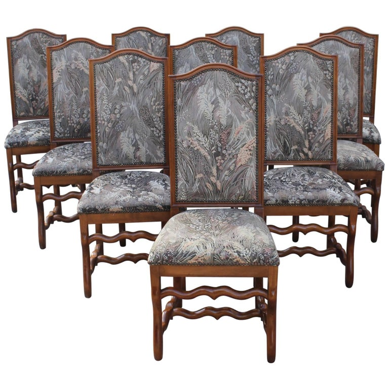 Set of Ten French, Louis XIII Style Solid Walnut Os De Mouton Dining Chairs