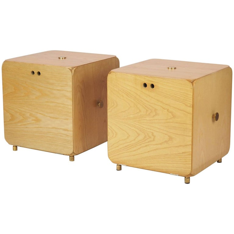 Pair of  wood 'Cube' Cabinet  Nightstands Produced  in Italy by Maisa in  1969