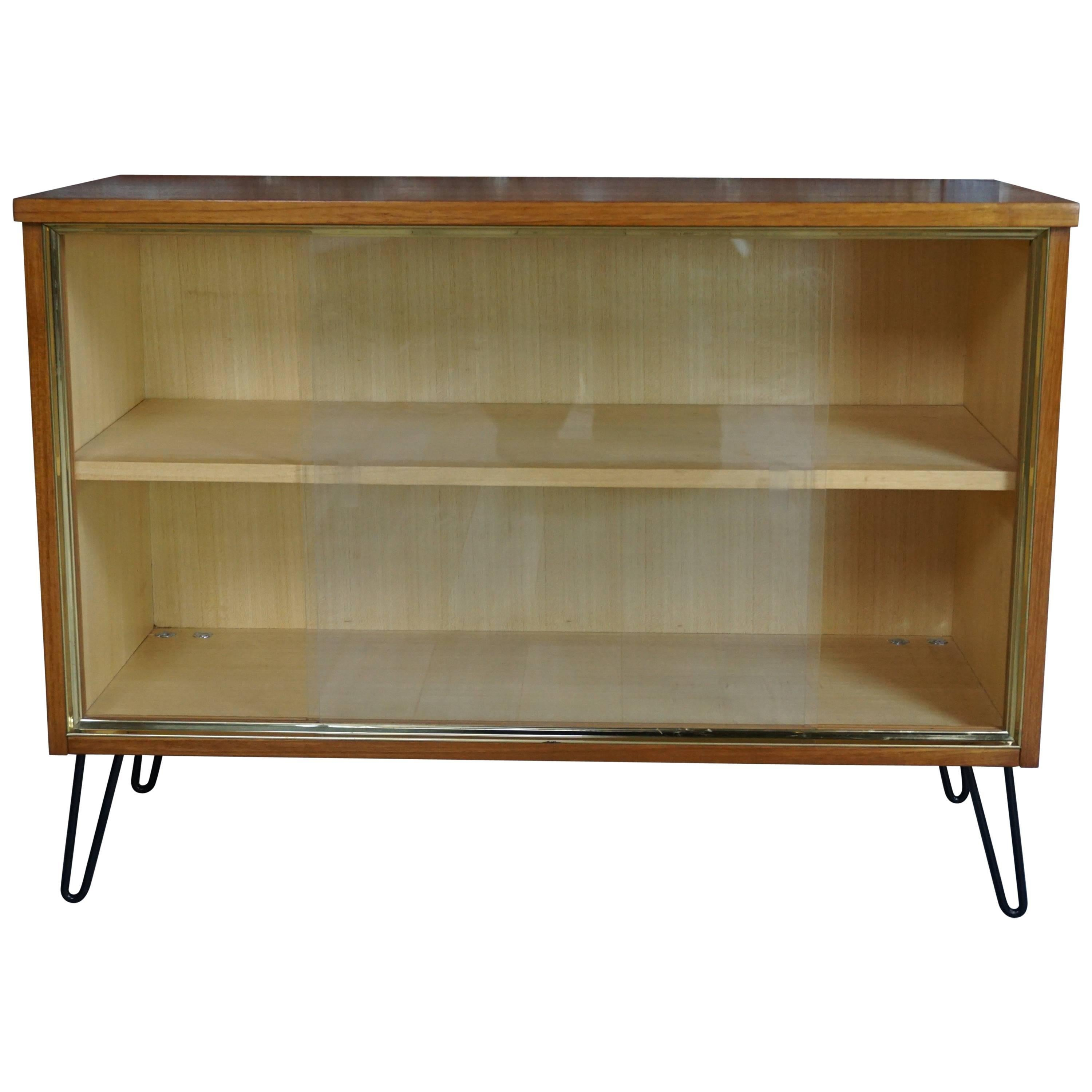 1950s teak and glass display case cabinet