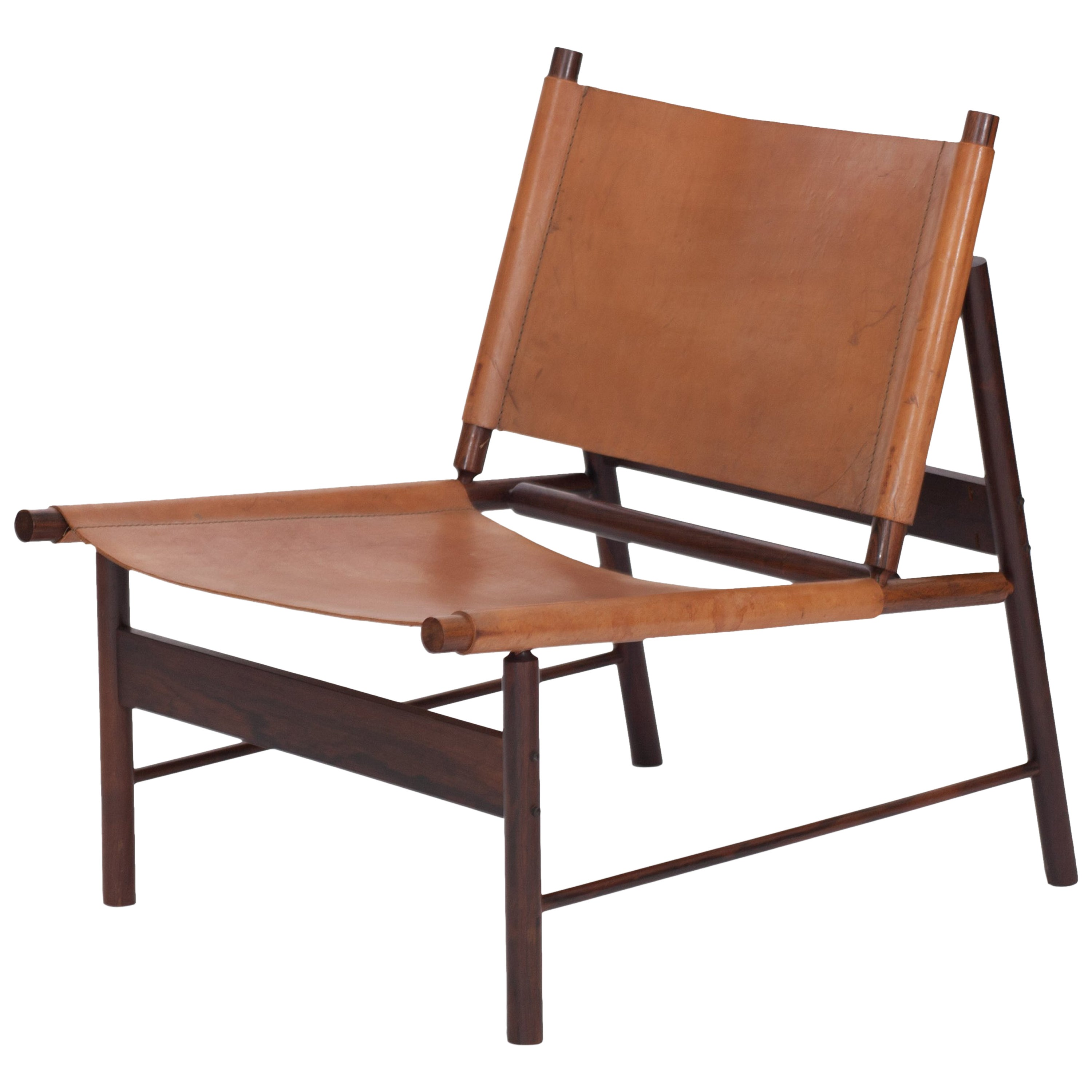 Rosewood and Cognac Leather Lounge Chair by Jorge Zalszupin, Brazil, 1955