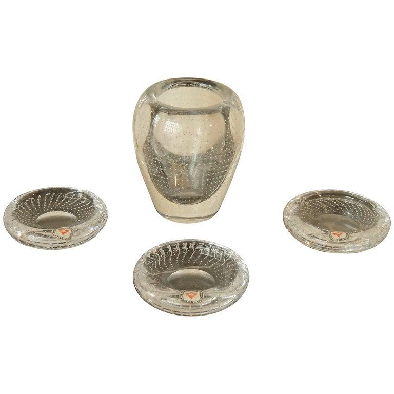 Midcentury Set by Leerdam Three Ashtrays and Small Vase
