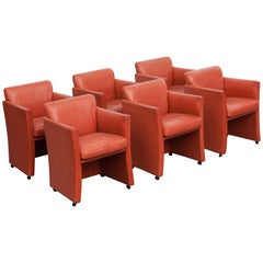 Durlet Red Leather Armchairs