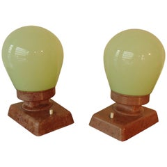 Bauhaus Pair of Table Lamps or Wall Lights Brown Bakelite and Clear Green Glass