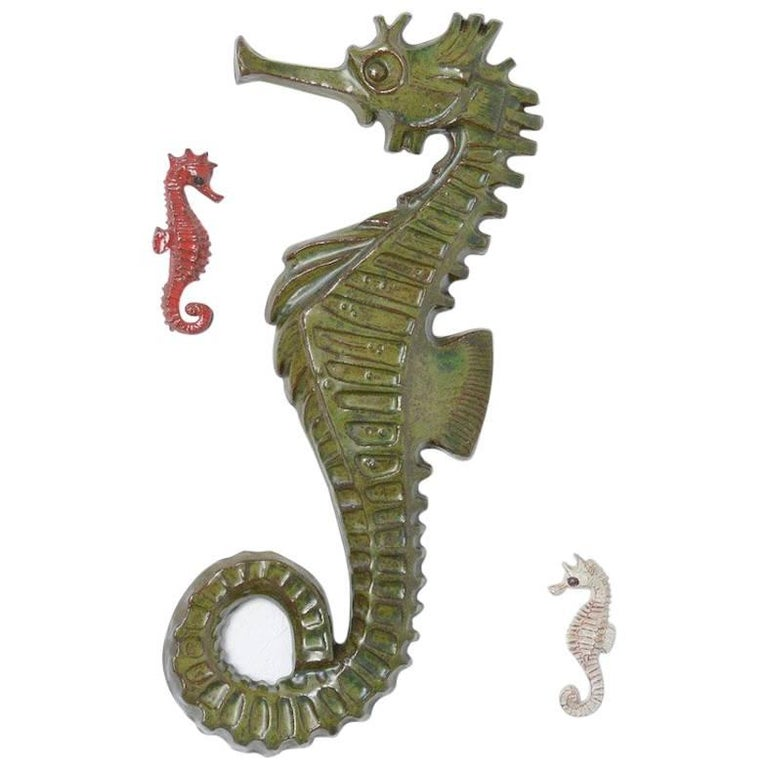 Set of Three Seahorse Ceramic Wall Sculptures by Amphora