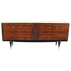 French Art Deco Macassar Sideboard with Diamond Mother-of-Pearl Center