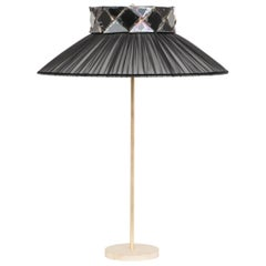 Joey Table Lamp Black Silk Mat Brass Finish Black Glass Silvered