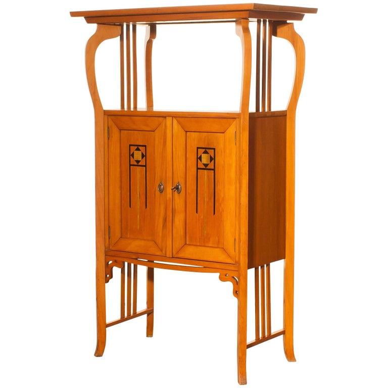 1920s, Elm Art Nouveau Cabinet For Sale