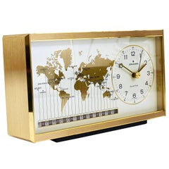 Midcentury Junghans GMT World Time Zone Brass Table Clock, Germany, 1970s