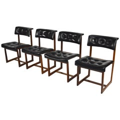 Amazing Scandinavian Set of Four Rosewood and Leather Dining Chairs, 1950s