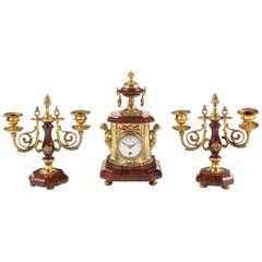 Small Late 19th Century Red Griotte Marble and Gilt Brass Timepiece Garniture
