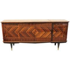French Art Deco Zig Zag Macassar Ebony Sideboard  or Buffet, circa 1940s