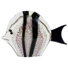 Signed Mario Badioli Handblown Murano Glass Fish Sculpture, Italy, 1970s