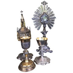 Collection Monstrance Ciborium and Two Challices in Silver and Gold 19th Century