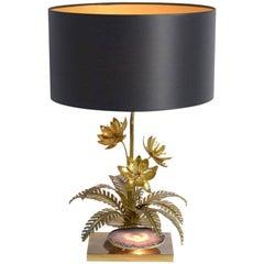 Brass Flower Table Lamp by Maison Jansen