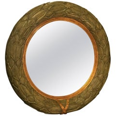 Stunning Maitland Smith Round Convex Veridian Green Mirror