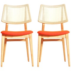 Organic Shape 1960s Spanish Beech Chair, Set of Two