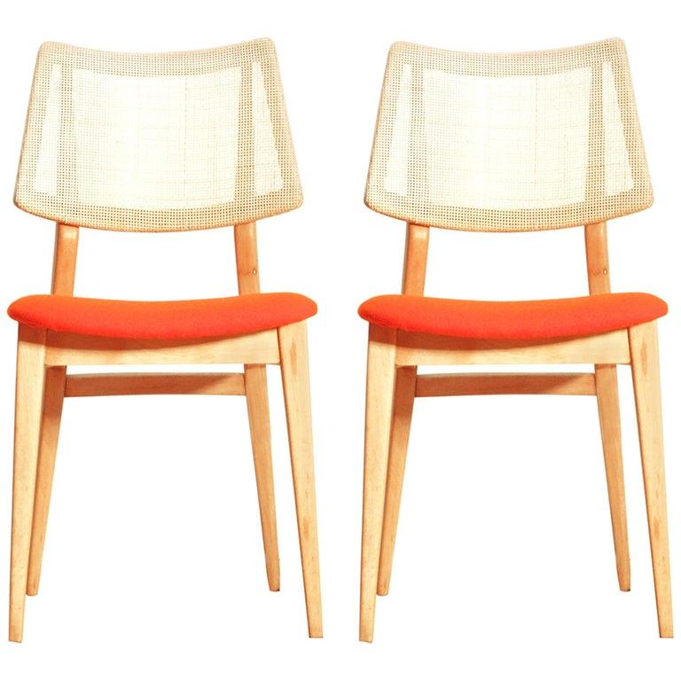 Organic Shape 1960s Spanish Beech Chair, Set of Two