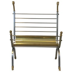 1970s Italian Maison Jansen Style Brass and Steel Rams Head Magazine Rack