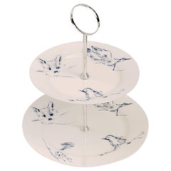 Signed Tracey Emin Bone China Cake Stand, 'Docket and His Bird' Collection