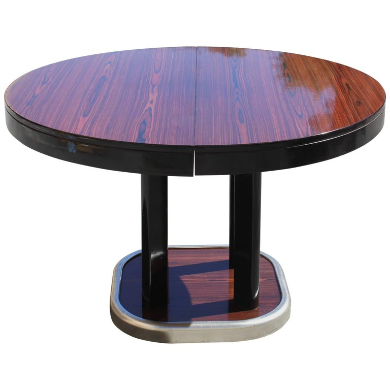 French art deco macassar ebony round dining table with for Dining room tables with leaves built in