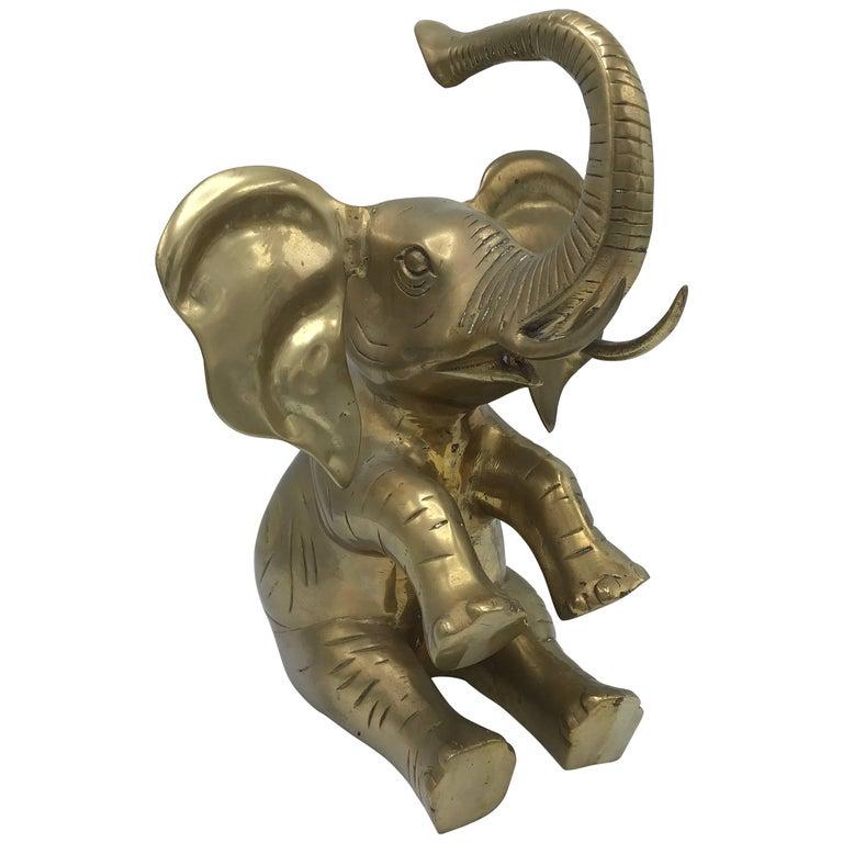 1960s Italian Brass Elephant Sculpture