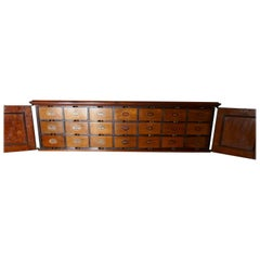 19th Century Long Mahogany Estate Cupboard Filing Drawers