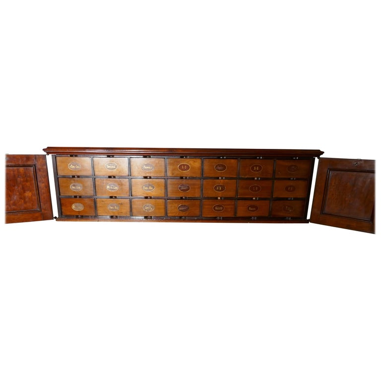 19th Century Long Mahogany Estate Cupboard Filing Drawers For Sale