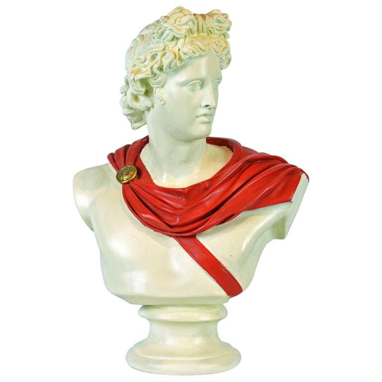 Unique Midcentury Polychrome Painted Plaster Bust of Apollo Belvedere 1