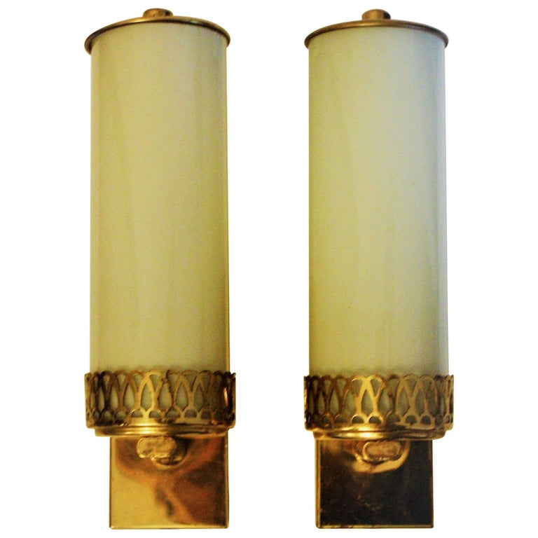 Bauhaus Art Deco Wall Sconces Brass and Opal Glass Wall Lights ...
