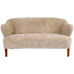 Flemming Lassen Settee in Pale Grey Sheepskin, 1940s