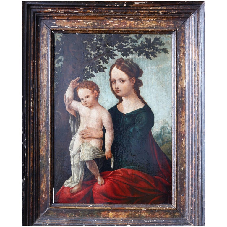 16th Century Netherlandish School Madonna and Child in a Landscape For Sale
