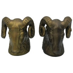 1970s Brass Ram's Head Sculpture Bookends, Pair