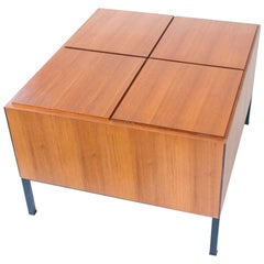 1950s Mid-Century Modern Iron Teak Bar Cocktail Table