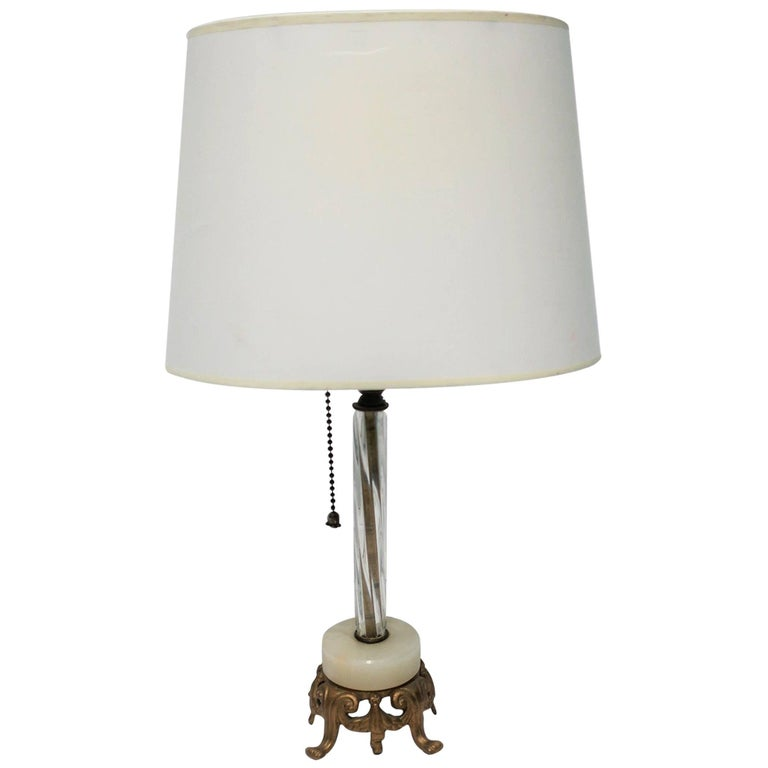 Small Italian Onyx Marble Gold Gilt and Art Glass Table Lamp