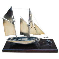 20th Century Silver Twin Masted Yacht Desk, Ornament