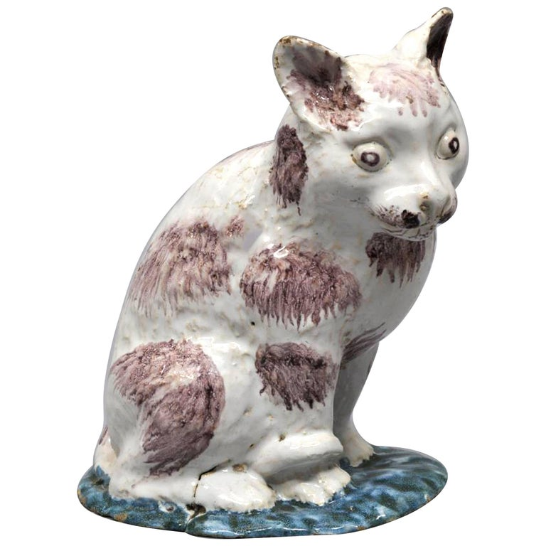 Brussels Faience Model of a Cat,  Philippe Mombaers, circa 1765-1785 For Sale