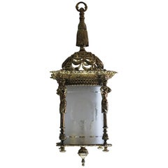 Large French Empire Style Fire-Gilded Bronze Four-Light Lantern, Chandelier