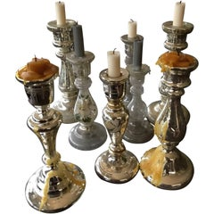 Mercury Glass Candlesticks Collection off Eight Pieces off 19th Century Antiques