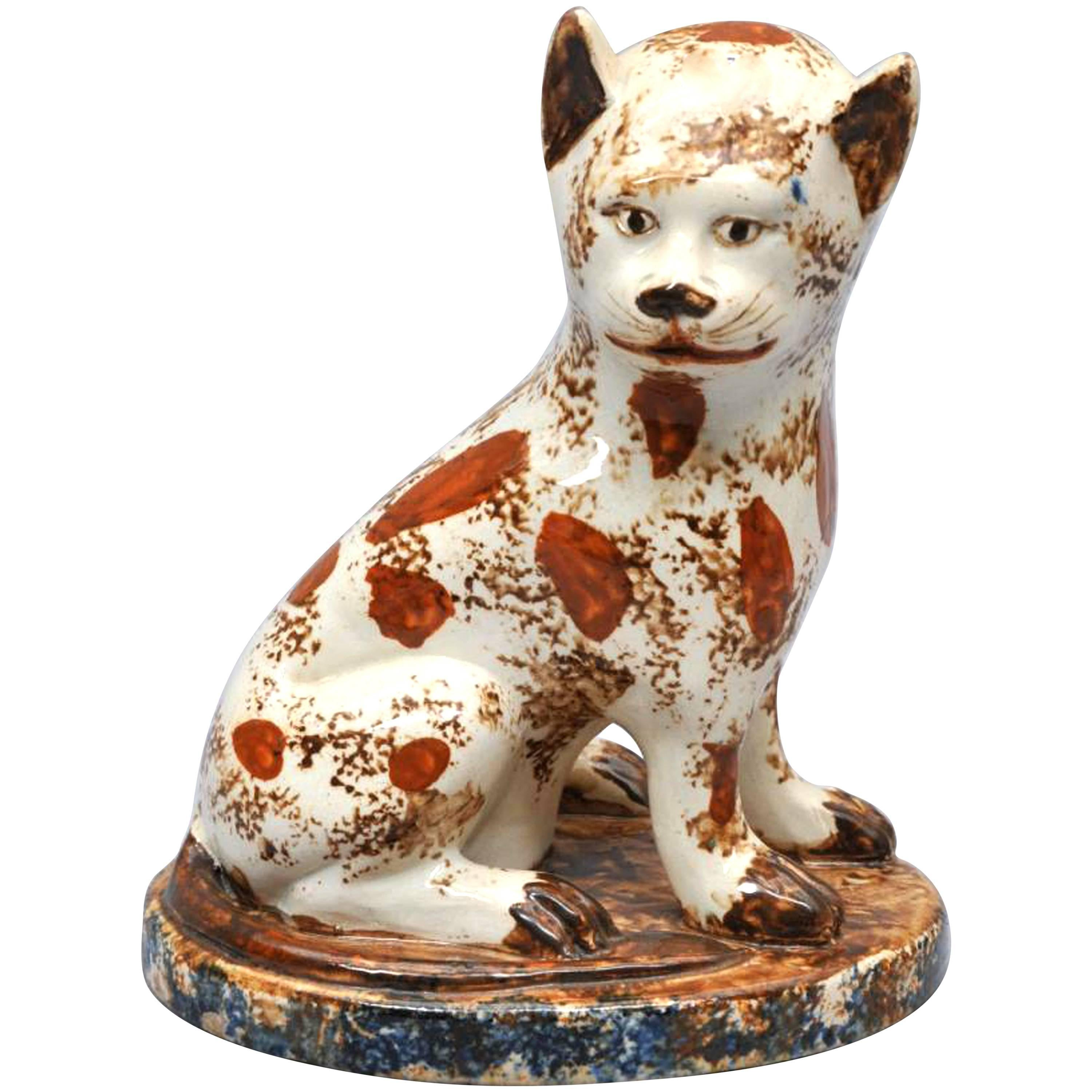 Early Staffordshire Pottery Whimsical Cat, Early 19th Century