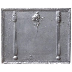 18th Century French 'Pillars with flower' Fireback