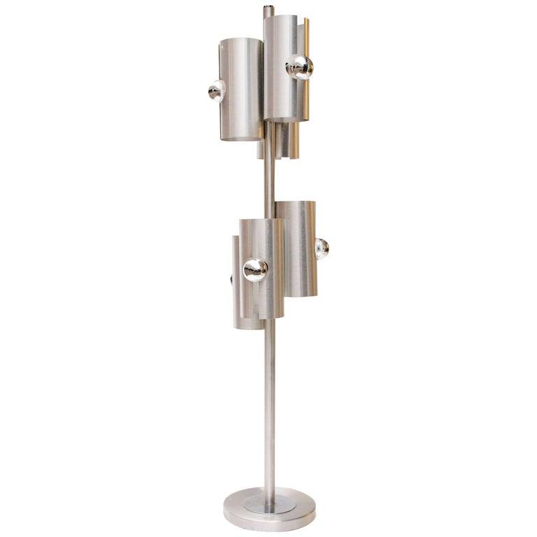 1970s Max Sauze Modernist Brushed Aluminium Floor Lamp