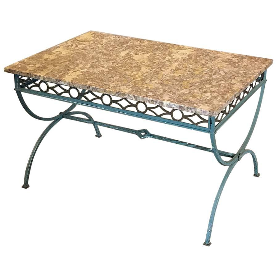 Art Deco Wrought Iron Marble-Top Coffee Table