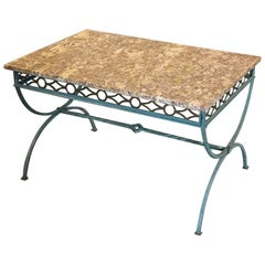 Antique Country French Wrought Iron Marble-Top Coffee Table