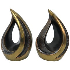 1960s Ben Seibel for Jenfred Ware Brass Flame Bookends, Pair