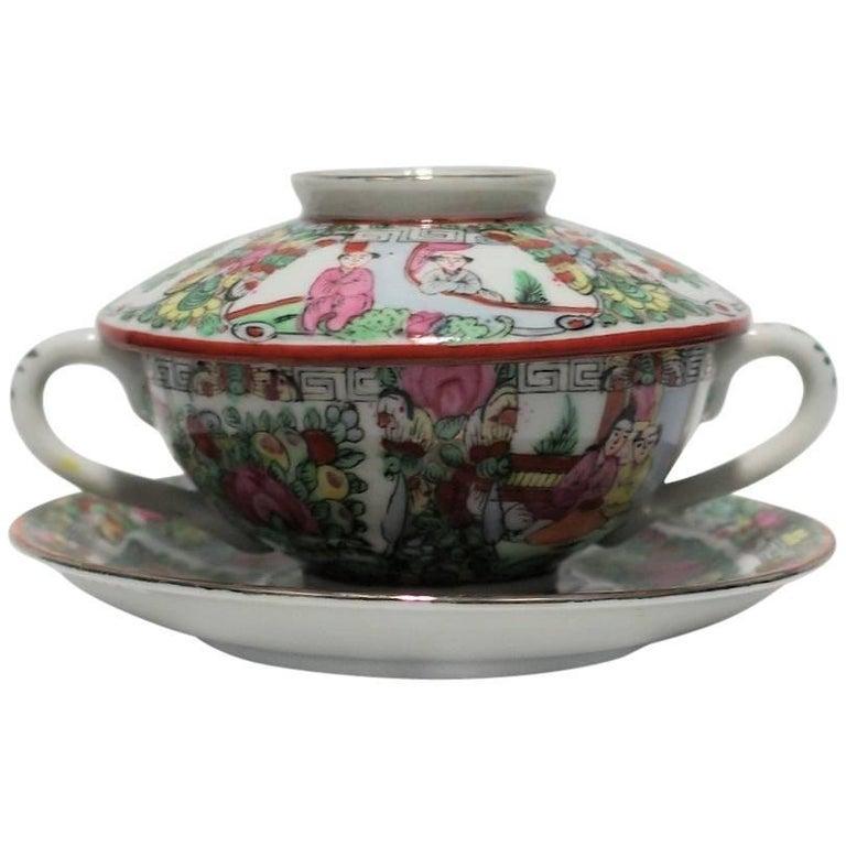 Vintage Famille Rose Tea or Soup Set
