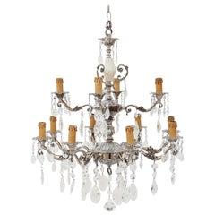 Antique Twelve-Lamp Silver on Brass Crystal Chandelier
