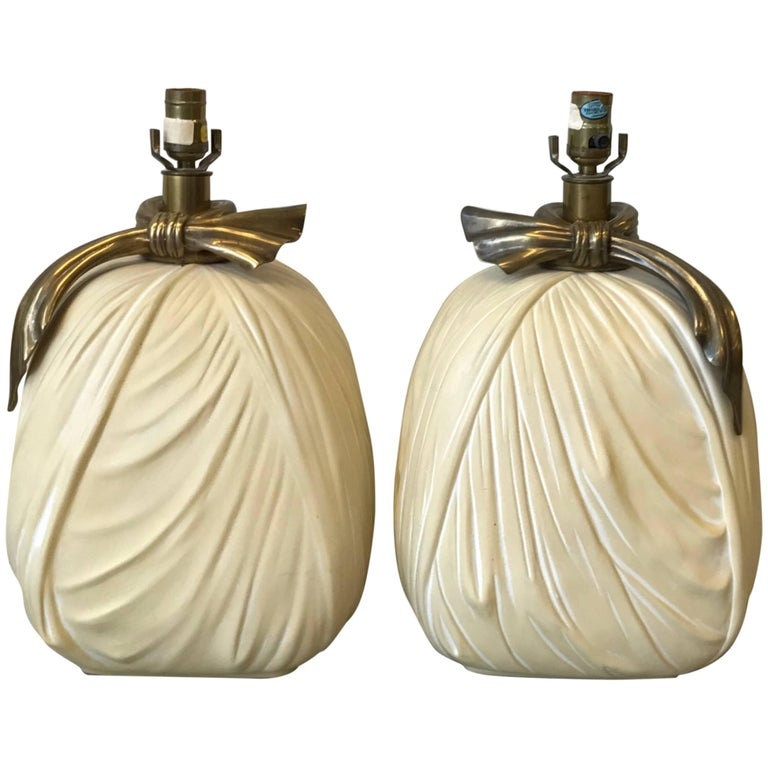 1980s Chapman Hollywood Regency Ceramic and Brass Bow Lamps, Pair